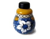 Vintage French Vinegar Cruet with Stopper/Hand Painted Blue Yellow /Country Kitchen Carafe /France