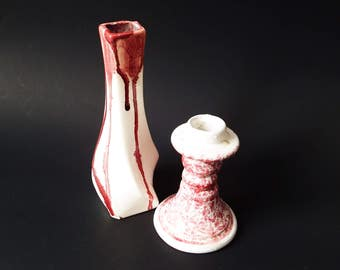 Pair Ceramic Vase/ Candlestick/ Handcrafted Complimentary Lot of Two/ Ceramic Bud Vase/ Pottery Candle Holder/ Rose Pink