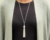 Pearl Tassel Necklace with Matching Earrings