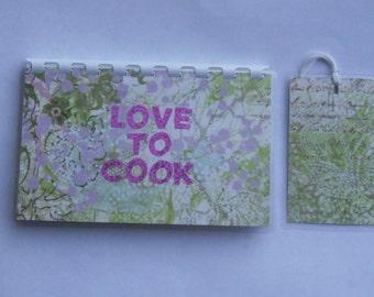 Handmade Love to Cook Pink blank Recipe book