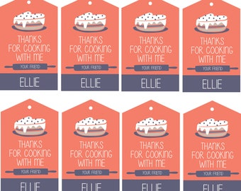DIY Printable Cooking Chef Birthday Party Favor Thank You Tags