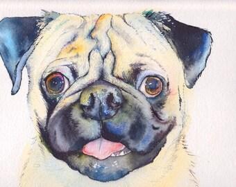 11x14  CUSTOM Dog Portrait original watercolor painting