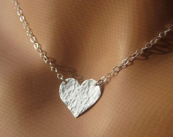 Sterling Silver Heart Hammered Pendant Necklace Modern Women's Jewelry Gift
