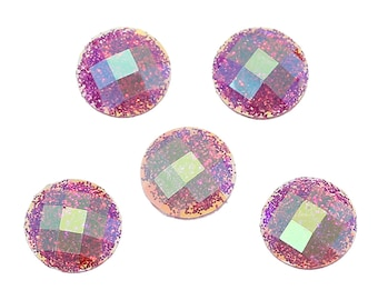 10 Resin Fushia AB Color Transparent Glitter Faceted Dome 8mm