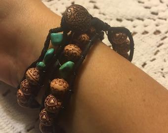 Wooden Heart Wrap Bracelet