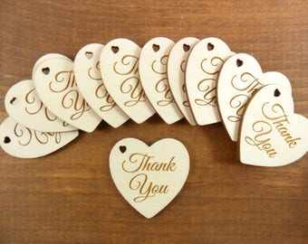 "Thank You Heart Wedding Signs Favor Tags / Anniversary 1 1/2"" x 1 1/2"" x 1/8"" Unfinished Laser Cut Wood Shapes - Select Number of Pieces"