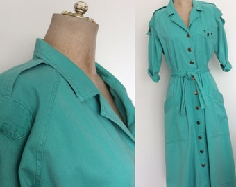 1980's Seafoam Green Shirtwaist Dress Size Medium by Maeberry Vintage