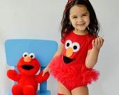 Elmo Inspired Tutu Bodysuit Happy Red Sesame Street Monster Toddler Baby Girl Birthday