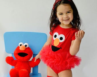 Elmo Inspired Tutu Bodysuit Happy Red Sesame Street Monster Toddler Baby Girl Birthday