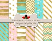 SPRING 80% OFF SALE  Turquoise and Pink Digital Papers for personal and commercial use - Gold - Pink - Blue