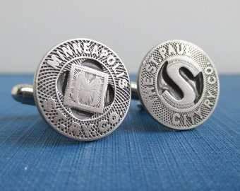 Twin Cities - Minneapolis & St. Paul Transit Token Cuff Links - Silver, Vintage Coins