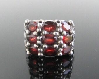 925 Sterling Silver & Red Garnet Ring - Vintage, Size 5 3/4
