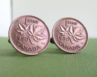 CANADA Coin Cuff Links - One Cent Maple Leaf Candian Pennies, Repurposed Bronze Coins