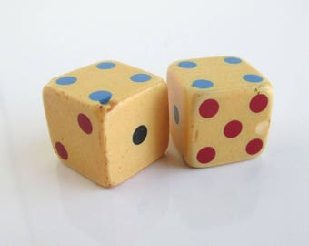 2 Bakelite Vintage Dice - Colored Pips, Chipped