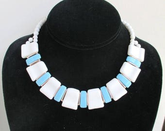 West Germany White & Baby Blue Glass Choker - Vintage Adjustable Length Necklace
