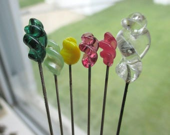 6 Glass Stick Pins - Vintage Swirl Lot