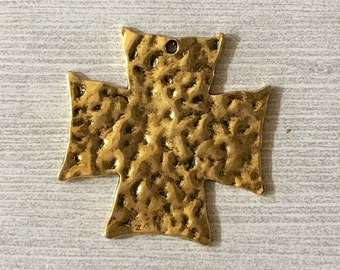 Shiny Gold Hammered Pewter Square Cross Pendant
