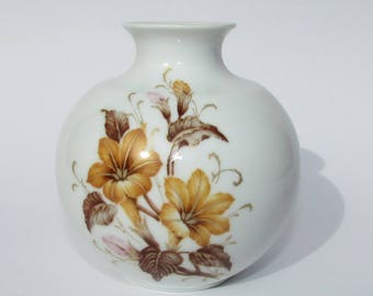 "Vintage KAISER VASE Small Bud Vase ARLETTE W. Germany Yellow & Brown 3 3/4"" high"