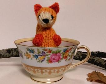 Hand Knit Fox. Knit Fox Plush. Orange Fox. Fox Stuffie. Woodland Animal. Pretend Play. Woodland Plushie. Ready To Ship. Gifts Under 10