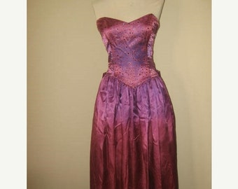 75% Off Sale Vintage Gunne Sax Jessica McClintock Purple Gown/Dress Retro 1970s/Sz S