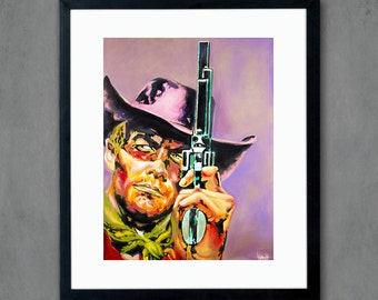 Western Cowboy Pistol Gun Giclee Art Print from Original Painting - Signed Limited Edition