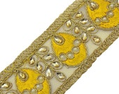 Beaded Trim By The Yard, Sewing Crafts Embellishments, Decorative Sari Border, Sewing Crafts Ribbon Trim, Sewing Accessories BT446D