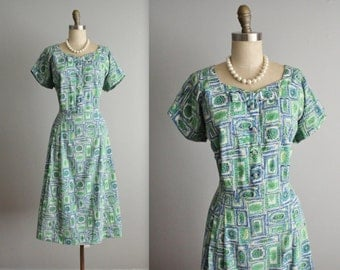 50's Dress // Vintage 1950's Floral Print Cotton Garden Party Shirtwaist Summer Day Dress Volup XL
