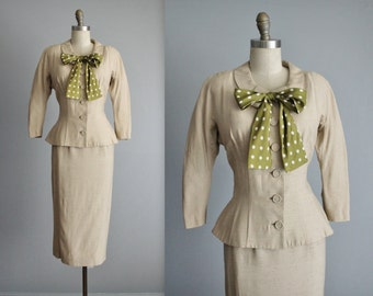 50's Bombshell Suit  // Vintage 1950's Fitted Ecru Linen Silk Jacket Skirt Suit S M