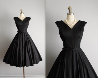 50's Dress // Vintage 1950's Black Cotton Full New Look Cocktail Party Full Circle Dress M