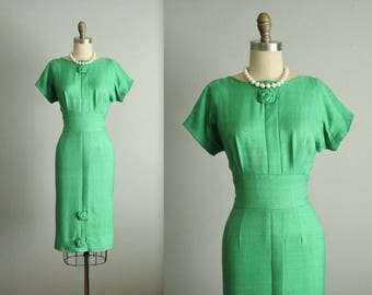 50's Cocktail Dress // Vintage I. Magnin Kelly Green 1950's Fitted Cocktail Garden Party Dress L