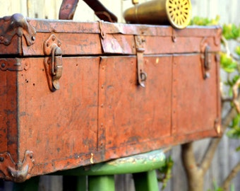 Long Vintage Rustic Orange Toolbox: Distressed Oversize Antique Industrial Hardware & Tool Storage Box / Chest / Trunk
