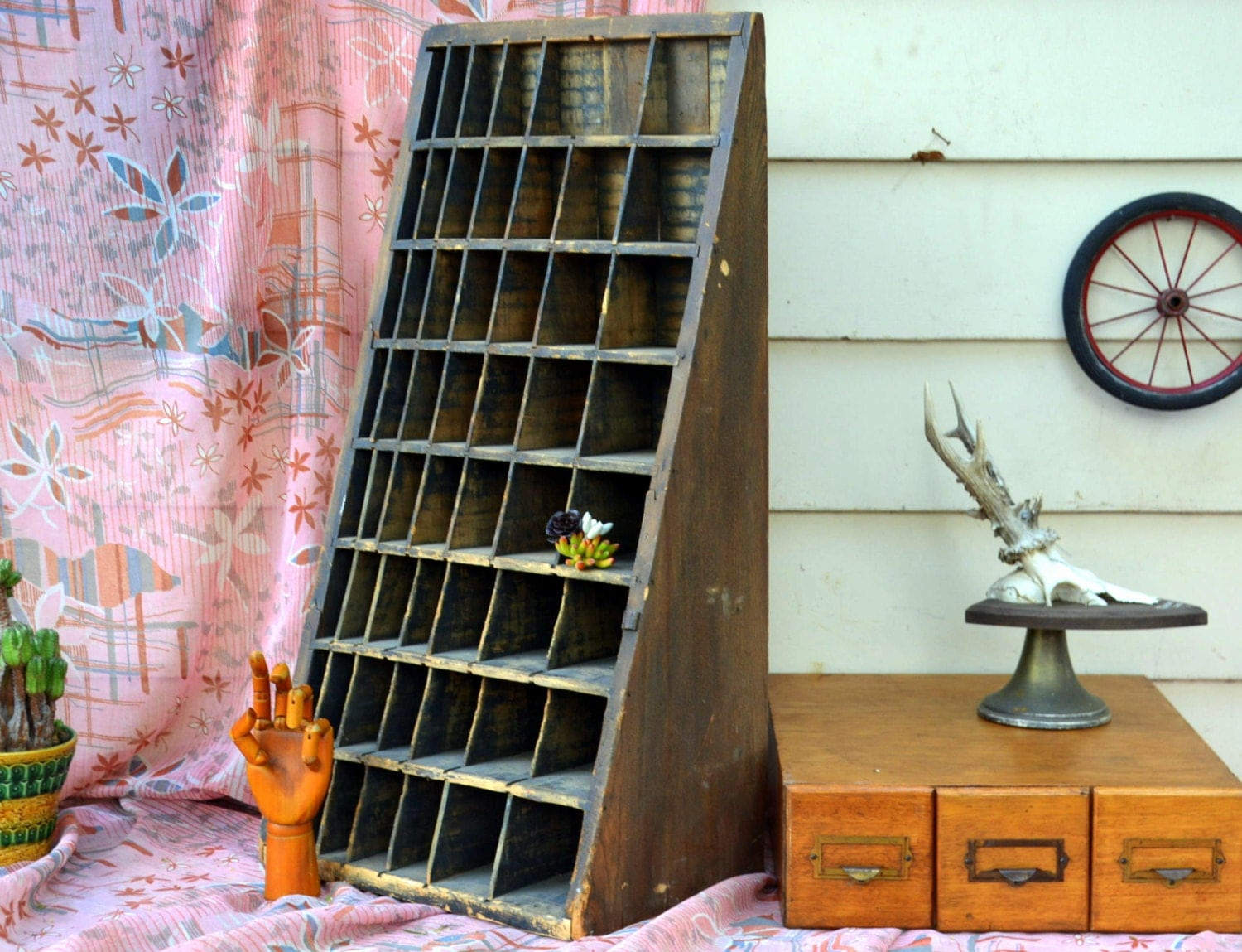 Antique Printer's Letterpress Type Stand Cabinet: Rustic ...