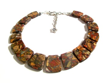 Picasso Jasper, Pyrite Necklace Collar, Choker, Statement Necklace, 2 Piece Set