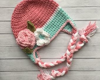 Baby winter hat, crochet earflap hat, girls winter hat, toddler winter hat, photography prop, pink winter hat, newborn photo prop
