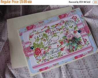 Spring Clearance SaLe Antique French Label Inspired Card Floral Blank Greeting Gift Giving All Occasion Blue