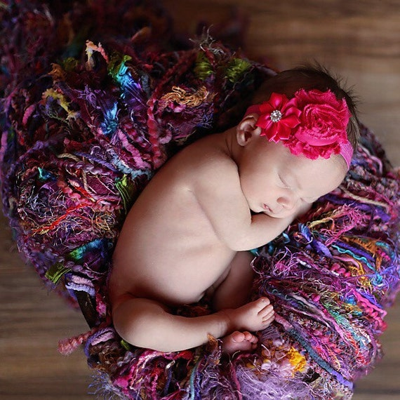 Girl Photo Prop Baby Blanket Baby Girl Pink and Teal Multicolor Photography Prop Fringie