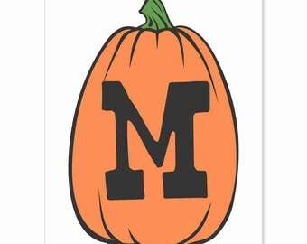 Printable Digital Download DIY - Fall Art Monogram Pumpkin - TALL M - Print frame or cut out for seasonal Halloween decorating orange black
