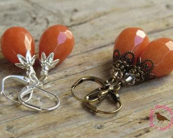 Pale Orange Jade Teardrop Dangle Earrings, Rustic Orange Drop Earrings, Downton Abbey Orange Earrings, by MagpieMadness for Etsy