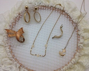Vintage necklaces, earrings, broach and pony tail clip with lace hoop