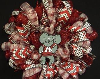 10% OFF Alabama College Wreath, Crimson Tide, Roll Tide, Houndstooth, Sports Wreaths, Deco Mesh Wreath, Poly Mesh Wreaths (1087)