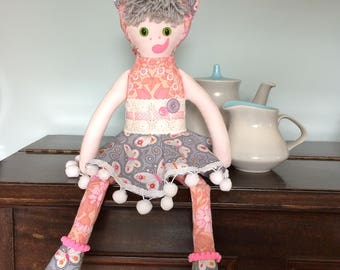 Katie KittyKat Cat Rag Doll in  pretty Pink and Grey Vintage Fabrics a Forest Friend by Witty Dawn