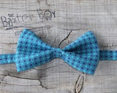 Teal bow tie with navy and turquoise polka dots -  little boy bow tie, photo prop, ring bearer, wedding