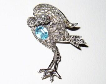 Vintage 40's Rhinestone Bird Brooch