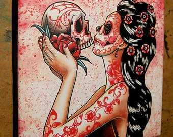 8x8 in Square Stretched Canvas Print - Eternity - Tattoo Flash Day of the Dead Sugar Skull Girl Lowbrow Home Decor