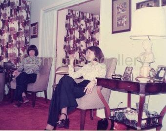 Vintage Photo, Teenage Girls, Living Room, 1970's Fashion, Candid Photo, Color Photo, Found Photo, Old Photo, Snapshot