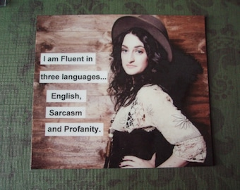 Vintage Photo Magnet I am Fluent in three languages