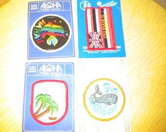 Lot of 4 Vintage Embroidered hawaii patches