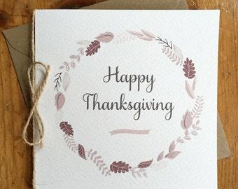 Leaf Circle & Twine Thanksgiving Card Autumn Oak Leaves