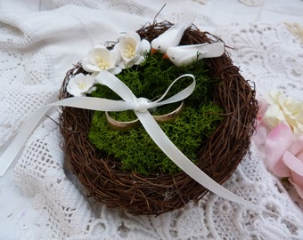 Love bird nest ring bearer pillow- with  tiny white lovebirds -moss and flowers - country wedding