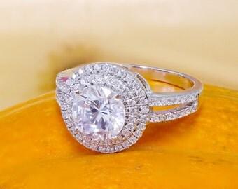 14k White Gold Round Cut Diamond Engagement Ring Halo Deco Antique Style, Bridal Style, Wedding, Prong Set,  2.10ctw H-SI1 EGL USA